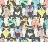 Seamless pattern with hipster cute cats for children — Stock Vector