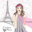 Stock Vector: Girl near eiffel tower. Hand drawn Paris postcard.