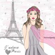 Girl near eiffel tower. Hand drawn Paris postcard. — Stock Vector