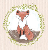 Cute little fox illustration for children. — Stock Vector