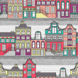 Stock Vector: Cute Amsterdam houses seamless pattern