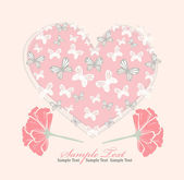 Valentines day card with heart, flowers and butterfly — Stock Vector