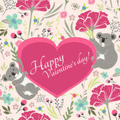 Floral valentines day card with cute koala bears — Stock Vector