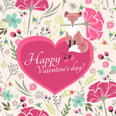 Floral valentines day card with cute little fox — Stock Vector