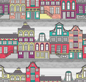 Cute Amsterdam houses seamless pattern — Stock Vector