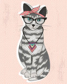 Cute hipster rockabilly cat with head scarf, glasses and necklac — Stock Vector
