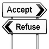 Accept or refuse concept. — Stockfoto
