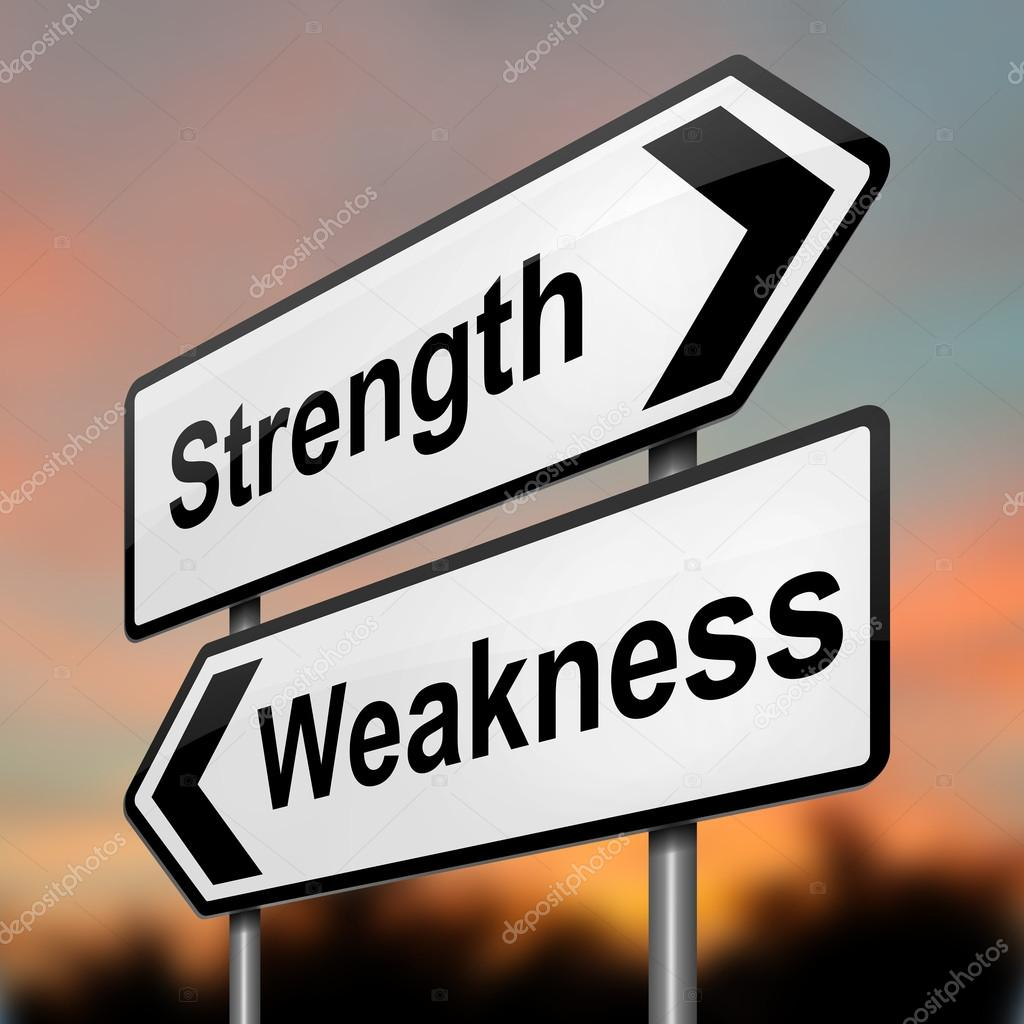 strengths or weakness concept stock photo copy soul  illustration depicting a roadsign a strength and weakness concept blurred dusk background photo by 72soul