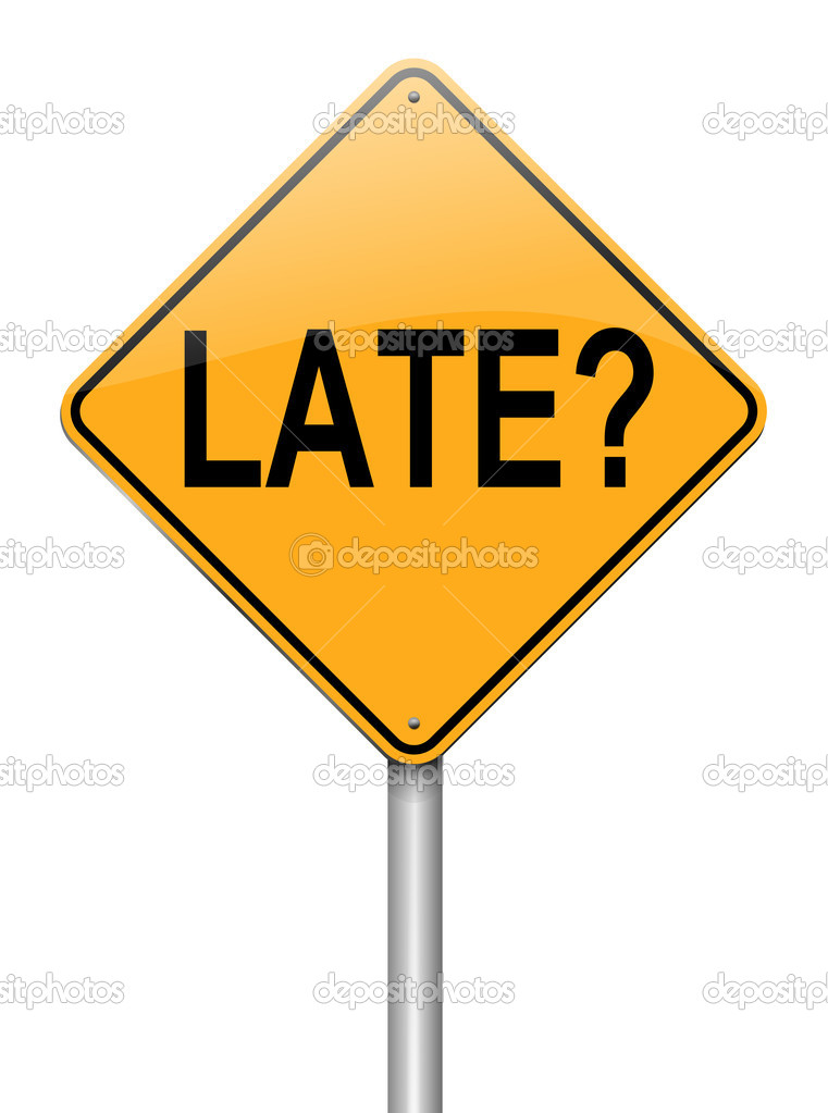 Illustration depicting a roadsign with a late concept. White background. — Stock Photo #13485830