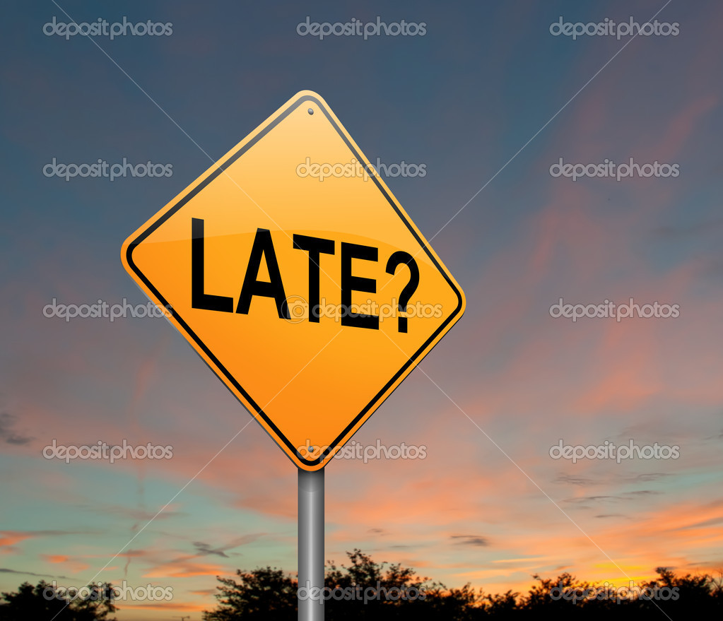 Illustration depicting a roadsign with a late concept. Dusk background. — Stock Photo #13485913