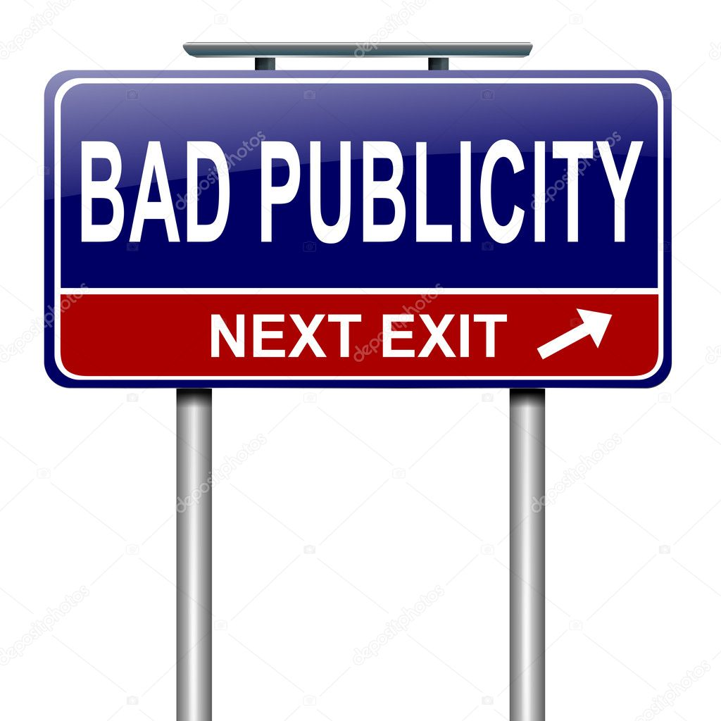 Illustration depicting a roadsign with a bad publicity concept. White background. — Stock Photo #13721735
