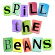 Spill the beans concept. — Stock Photo