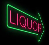 Liquor neon sign. — Stock Photo