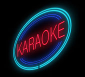 Illuminated karaoke sign. — Stock Photo