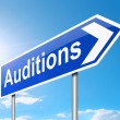 Auditions sign. - Stock Photo