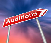 Auditions sign. — Stock Photo