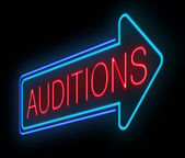 Neon auditions sign. — Stock Photo