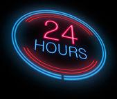 Otevřeno 24 hodin. — Stock fotografie