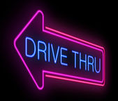 Drive thru neon sign. — Stock Photo