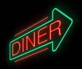 Neon diner sign. — Stock Photo