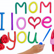 Plasticine kid's love message for mother — Stock Photo