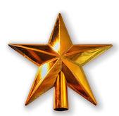 Año nuevo golden star aislado en blanco — Foto de Stock
