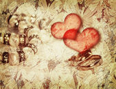 Vintage love background with wedding rings — Stock Photo