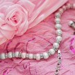 Closeup of silver pearl jewellery — Stock Photo
