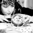 Black and white portrait of fortune-teller — Stock Photo #19395785