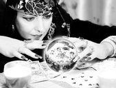 Black and white portrait of fortune-teller — Stock Photo