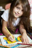 Portrét krásné dívky, kreslení obrázku — Stock fotografie