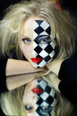 Closeup of model with a chess pattern — Stock Photo