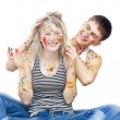 Funny painted laughing couple — Stock Photo