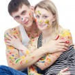 Portrait of woman and man covered with paints — Stock Photo