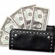 Black purse and dollars on white — Stock Photo #40194349