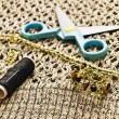 Closeup scissors, threads and beads — Stock Photo #40194911