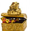 Feng Shui frog on golden chest — Stock Photo #40195403