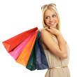 Attractive blonde with shopping bags — Stock Photo
