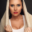 Beautiful Young Woman with scarf on head — Stock Photo