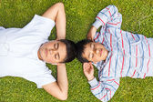 Two boys listen music — Stock Photo