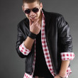 Handsome Young Man Wearing Leather Jacket — Stock Photo