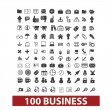 100 business and office icons, signs set, vector — Stock Vector