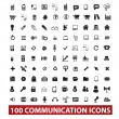 100 communication and connection icons set, vector — Stock Vector