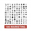 100 marketing icons set, vector — Stockvektor