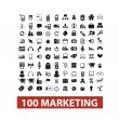 100 marketing icons set, vector — ストックベクタ