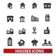 Houses & building icons set, vector — Stock Vector