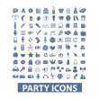 Party, birthday, celebration icons set, vector — Stock Vector