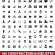 100 architecture, construction & industry icons set, vector — Stock Vector