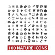 100 nature icons set, vector — Stock Vector
