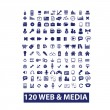120 media & web icons, vector set — Stock Vector